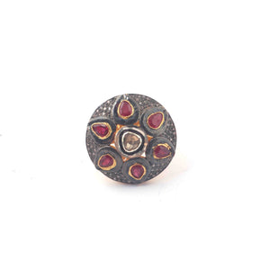 1 PC Beautiful Pave Diamond Ruby With Rose Cut Diamond Ring - 925 Sterling Vermeil- Polki Ring Size-8.25 Rd124