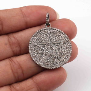 1 PC  Antique Finish Pave Diamond Designer Round Pendant - 925 Sterling Silver -Diamond Pendant 31mmx28mm PD1917