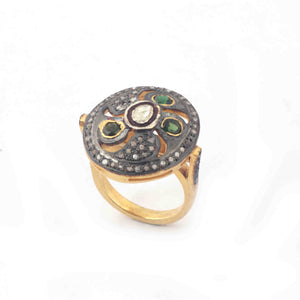 1 PC Beautiful Pave Diamond Chrome Diopside With Rose Cut Diamond Ring - 925 Sterling Vermeil- Polki Ring Size-7 Rd135