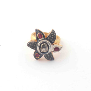 1 PC Beautiful Pave Diamond Ruby With Rose Cut Diamond Ring - 925 Sterling Vermeil - Polki Ring Size-8 Rd213