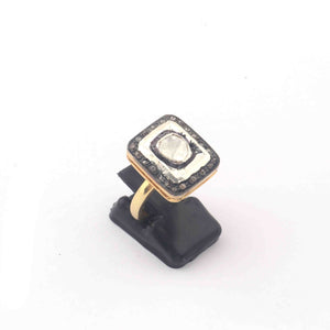 1 Pc Beautiful Pave Diamond - Rose cut Diamond Designer Ring - 925 Sterling Vermeil - Polki Ring Rd403
