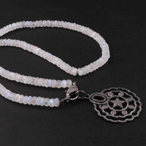 White Rainbow Moonstone Beaded Necklace - Necklace With Lobster - Long Knotted Beads Necklace -Single Wrap Necklace - Gemstone Necklace (Without Pendant) BN039