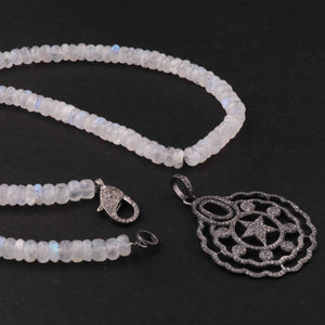 White Rainbow Moonstone Beaded Necklace - Necklace With Lobster - Long Knotted Beads Necklace -Single Wrap Necklace - Gemstone Necklace (Without Pendant) BN026