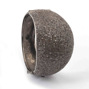 1 Pc Pave Diamond Beautiful Bangle - 925 Sterling Silver Bangle with Lock - Sparky Diamonds Size : 2.5 GVBD001