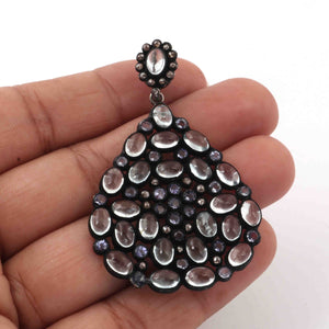 1 Pc Pave Diamond Genuine Crystal Quartz & Tanzanite Pendant -925 Sterling Silver - Gemstone Necklace Pendant 45mmx35mm PD1810