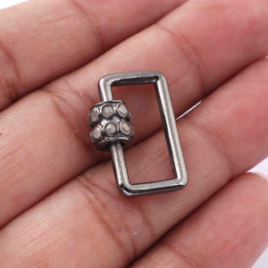 1 Pc Pave Diamond Rectangle Shape Carabiner- 925 Sterling Silver- Diamond Lock with Screw On Mechanism 21mmx14mm CB095