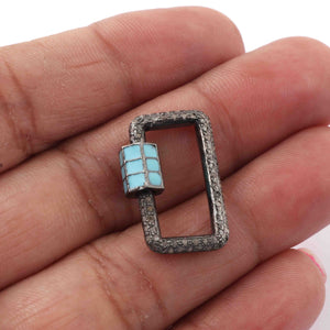 1 Pc Pave Diamond Rectangle Shape Sky Blue Enamel Carabiner- 925 Sterling Silver- Diamond Lock with Screw On Mechanism 21mmx14mm CB091