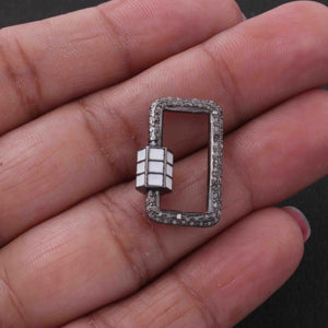 1 Pc Pave Diamond Rectangle Shape White Enamel Carabiner- 925 Sterling Silver- Diamond Lock with Screw On Mechanism 22mmx14mm CB092