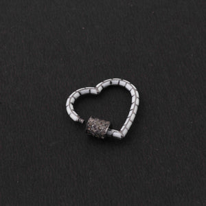 1 Pc Pave Diamond Heart White Enemel Carabiner- 925 Sterling Silver- Diamond Lock with Screw On Mechanism 23mm CB087