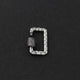 1 Pc Pave Diamond  Rectangle Cream Enemel Carabiner- 925 Sterling Silver- Diamond Lock with Screw On Mechanism 21mmx13mm CB085