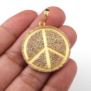1 Pc Pave Diamond Designer Peace Yellow Gold Pendant - Peace Pendant 30mmx28mm PD1949