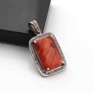 1 Pc Antique Finish Pave Diamond Oyster Shell  Rectangle Shape Pendant - 925 Sterling Silver - Necklace Pendant PD1896
