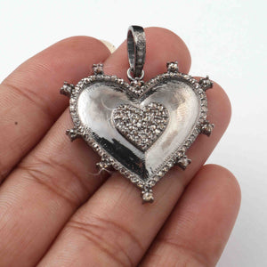 1 Pc Pave Diamond Designer Heart 925 Sterling Silver   Pendant - Heart Pendant 38mmx30mm PD1948