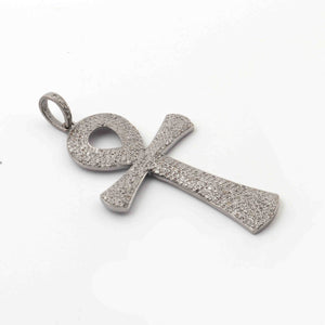 1 Pc Antique Finish Pave Diamond Designer Ankh Shape Pendant - 925 Sterling Silver- Necklace Pendant 58mmx33mm PD1769