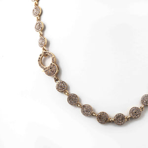 1 Necklace Pave Diamond Brass Necklace Chain - Brass - Necklace With Lock (Without Pendant) 26mmx15mm 16 Inches PD1788