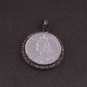 1 Pc Pave Diamond Victoria Coin Pendant - 925 Sterling Silver- Round Pendant 29mmx26mm PD2007