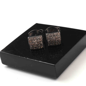1 Pair Beautiful Pave Diamond Square Stud With Back Stopper-925 Sterling Silver - Designer Stud Earring 8mm ED649