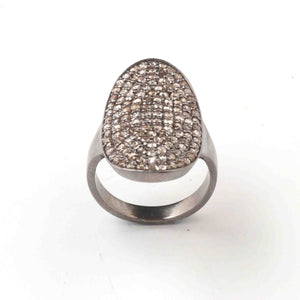 1 PC Antique Finish Pave Diamond Designer Oval Shape Ring - 925 Sterling Silver - Diamond Ring Size-7.5 RD014