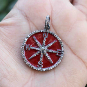 1 PC  Antique Finish Pave Diamond Designer Round With Star Bakelite Pendant - 925 Sterling Silver- Diamond Pendant 34mmx30mm PD1330