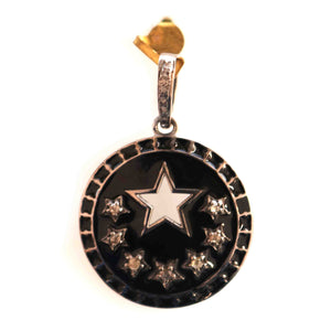 1 PC  Antique Finish Pave Diamond Designer Round With  Star Bakelite Pendant - 925 Sterling Silver- Diamond Pendant 27mmx24mm PD1097