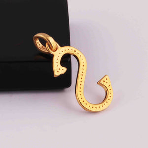 "1 PC Pave Diamond Letter "" S "" Shape Pendant Over 925 Sterling Silver & Yellow Gold - 22mmx12mm-8mmx5mm PD1308"