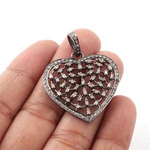 1 Pc Antique Finish Pave Diamond With Baguette Diamond Heart Pendant - 925 Sterling Silver - Necklace Pendant 32mmx31mm PD1156