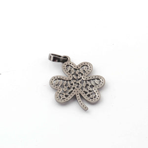 1 Pc Antique Finish Pave Diamond With Baguette Diamond Clover Leaf Pendant - 925 Sterling Silver - Necklace Pendant 35mmx27mm PD1154