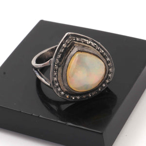 1 PC Pave Diamond With Ethiopian Opal Heart Shape Ring - 925 Sterling Silver- Oxidized Diamond Ring Size- 6.5 RD034