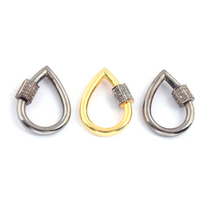1 Pc Pave Diamond Pear Drop Carabiner- 925 Sterling Vermeil- Diamond Lock with Screw On Mechanism 30mmx22mm CB081