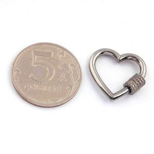 1 Pc Pave Diamond Heart Shape Carabiner- 925 Sterling Silver- Diamond Lock with Screw On Mechanism 21mm CB025