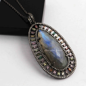 1 PC Labradorite Oval Pendant with Multi Sapphire Baguette Diamond-925 Sterling Silver-Pave Diamond Pendant 56mmx29mm  PD1618
