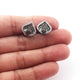 1 Pair Antique finish Pave Diamond Designer Stud Earrings With Back Stoppers - 925 Sterling Silver 15mmx13mm ED486