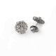 1 Pair Antique finish Pave Diamond Round Designer Stud Earrings With Back Stoppers - 925 Sterling Silver 12mm ED482