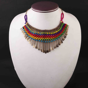 Multi Color Necklace - Handmade Tribal Necklace With Earring - Brass Necklace Knitted With Silk Thread -Indian Necklace 16-Inches CN001
