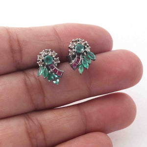 1 Pair Antique finish Pave Diamond With Emerald & Ruby Designer Flower Stud Earrings With Back Stoppers - 925 Sterling Silver 14mmx10mm ED484