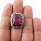 1 PC Beautiful Pave Diamond With Ruby Ring - 925 sterling silver - Square Shape Diamond Ring-Handmade Jewelry -Size: 9 RD471