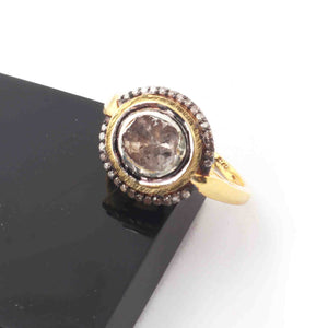 1 Pc Beautiful Pave Diamond - Rose cut Diamond Designer Ring - 925 Sterling Vermeil - Polki Ring RD304