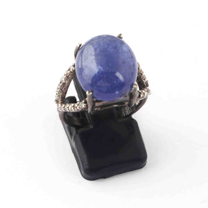 1 PC Beautiful Pave Diamond With Tanzanite Ring - 925 Sterling Silver- Gemstone Ring- Ring  Size -8.5 SJRD025
