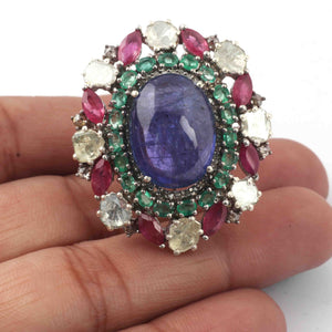 1 PC Beautiful Pave Diamond With Emerald & Ruby Ring Center In Tanzanite - 925 Sterling Silver - Gemstone Ring Size -7.5 SJRD004
