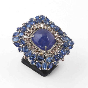 1 PC Beautiful Pave Diamond Ring With Kyanite & Tanzanite Gemstone Ring - 925 Sterling Silver - Designer Ring- Square Shape-Ring Size :8 SJRD036