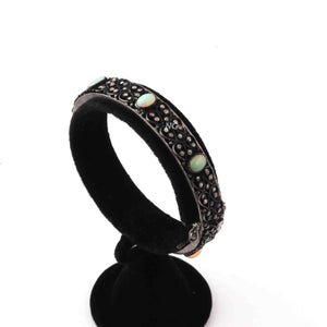 1 Pc Antique Finish Designer Pave Diamond with Ethiopian Opal Bangle - 925 Sterling Silver  -Bangle with Lock-  Bangle Size : 2.5 Bd342