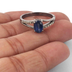 1 PC Beautiful Pave Diamond With Kyanite Ring - 925 Sterling Silver- Gemstone Ring-Ring  Size -8.5 SJRD026