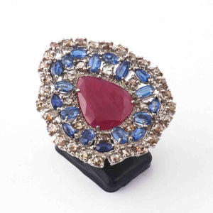 1 PC Pave Diamond , Ruby With Kyanite  Ring - 925 Sterling Silver - Pear Drop Designer Ring- Ring Size :7.5 SJRD005