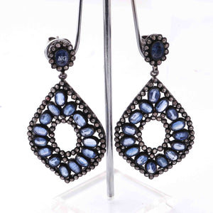 1 Pair Pave Diamond With Kyanite Earring - Diamond Dangle Flower Earrings - 925 Sterling Silver 50mmx33mm-15mmx6mm ED588