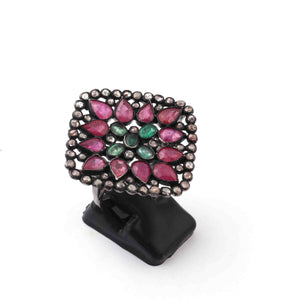 1 PC Pave Diamond Ruby Ring Center In Emerald - 925 Sterling Silver - Gemstone Ring Size -8  RD483
