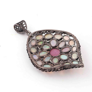 1 Pc Pave Diamond Genuine Ethiopian Opal Center In Ruby Pendant -925 Sterling Silver -Gemstone Necklace Pendant 55mmx39mm PD1838