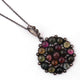 1 Pc Pave Diamond Genuine Multi Tourmaline Round Pendant - 925 Sterling Silver - Gemstone Necklace Pendant 32mmx30mm PD1841