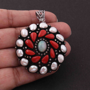 1 Pc Pave Diamond Genuine Pearl & Coral Center In  Ethiopian Opal Pendant -925 Sterling Silver -Gemstone Necklace Pendant 44mmx41mm PD1836