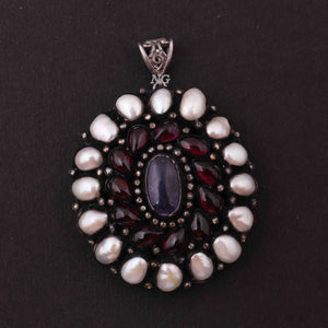 1 Pc Pave Diamond Genuine Pearl & Ruby Center In Tanzanite Pendant -925 Sterling Silver -Gemstone Necklace Pendant 52mmx45mm PD1837