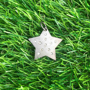 1 Pc Pave Double Cut Diamond Star Pendant - 925 Sterling Silver/ Yellow Gold Vermeil - Star Pendant 29mmx28mm PD1458